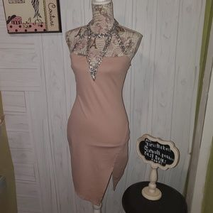 Charollete Russe bodycon taupe dress jeweled neckM